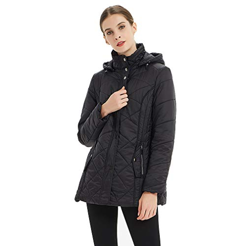 Plusfeel Women's Ladies Detahable Hood Ultra Lightweight Warm Puffer Coat Quilted Outwear Hiking Cyciling Jacket, Black, ()