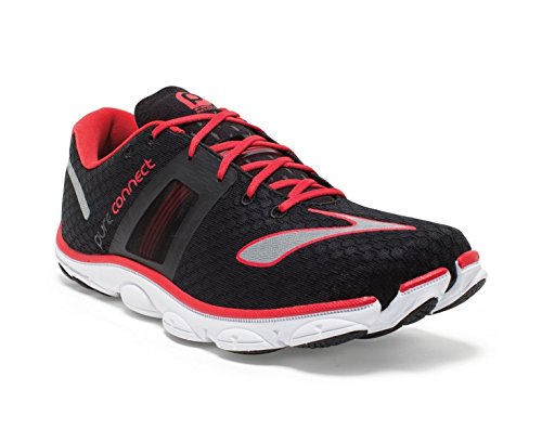 Brooks Men's PureConnect 4 Black/High Risk Red/Silver Sneake
