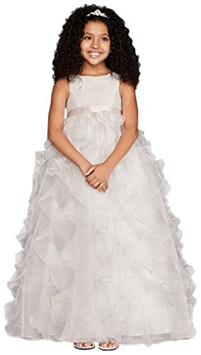 Organza Flower Girl / Communion Dress with Ruffled Skirt Style H1281, Soft... by David's Bridal