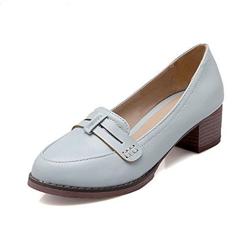 AgooLar Damen Rund Zehe Mittler Absatz Rein Ziehen auf Pumps Schuhe Blau