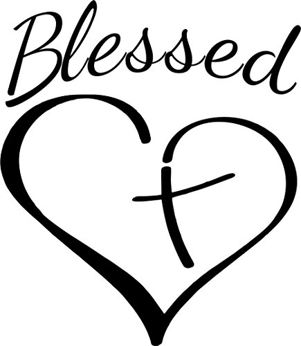 MAGNET Religious Christian Blessed Heart With Cross Window Decal Vinyl Magnetic Sticker 6