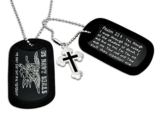 - U.S. Navy Seals + Psalm 23:4 Bible Verse Inscription Military Style Aluminum Dog Tag Necklace