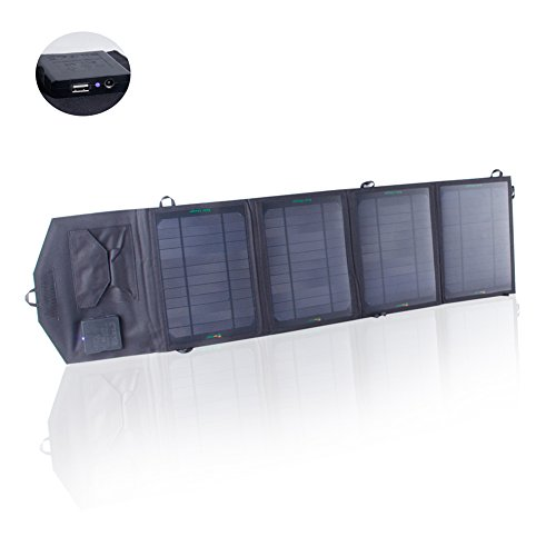 SUNKINGDOM™ 26W 2-Port DC USB Solar Charger with Portable Foldable Solar Panel PowermaxIQ Technology for iPhone, iPad, iPod, Samsung, Camera, and More (Black)