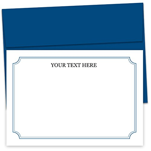 Mens personalized stationary, unisex stationary, stationery note cards, set of 12 cards with envelopes, customizable mens gifts. (Blue)