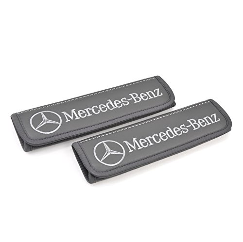 - Mercedes Benz seat belt covers pads shoulder for adults Grey seatbelt cover pad with embroidered Mercedes Benz emblem Interior accessories 2 pcs