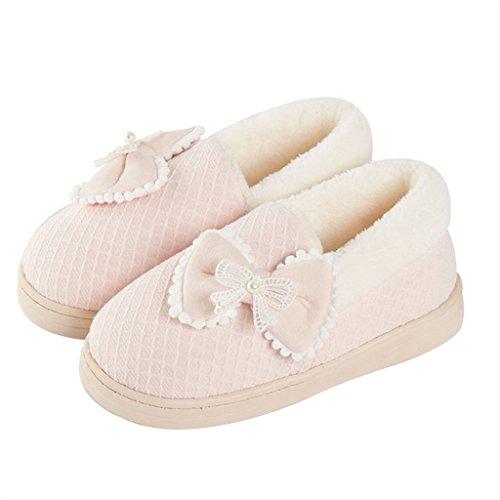 und und Bequeme Schuhe Pink Baumwolle Firms DWW Baumwolle Slipper Atmungsaktiv Plattform Schuhe Weich Taihewen Hausschuhe Warm Rutschfeste mit P6qZBq