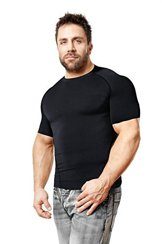Copper Compression Short Sleeve Men's Recovery T Shirt. Highest Copper Content Guaranteed. Support Sore & Stiff Muscles & Joints. Best Compression Fit T-Shirt Running, Basketball, Sports Wear (Large) ()
