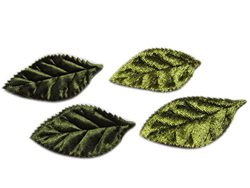 YYCRAFT Pack Of 80 Padded 2-Faced Satin Velvet Leaf Appliques/craft
