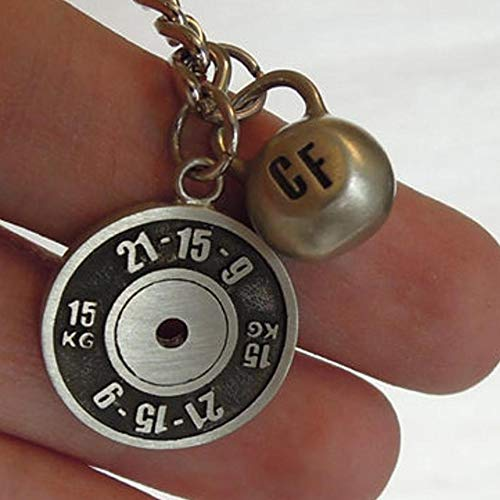 Workout Key Chain Wod Fran 21-15-9 Weight Plate and Kettlebell Fine Motivation Gift