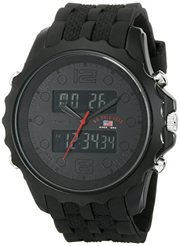 - U.S. Polo Assn. Sport Men's US9269 Black Watch With Black Rubber Band