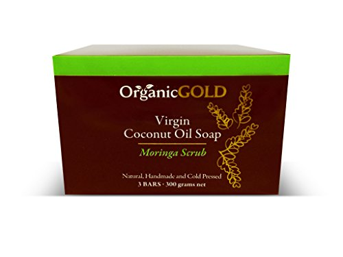 Natural and Organic Virgin Coconut Oil Soap and Body Scrub with Real Moringa Leaves Is the Best Exfoliant for Fresh Clean Every Bath – for Healthy and Glowing Skin (Pack of 3)