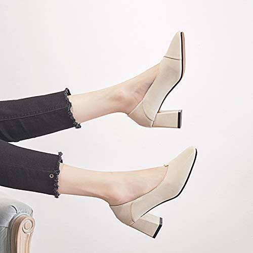 Fairy Shoes Wild Thick heels Women'S High Single Small With Beige High Fresh Girl Shoes Yukun Heels Autumn q8Xwt6p