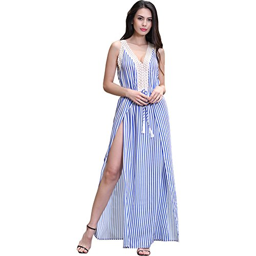 ISYITLTY Women's Summer Stripe Furcal Vintage Maxi Long Lace Sleeveless Dress BlueXL