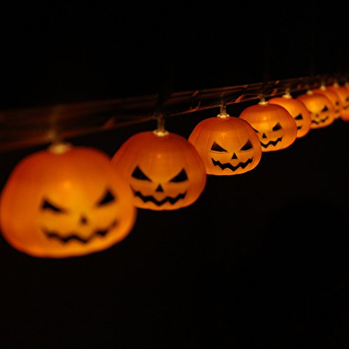 Halloween 3D Jack-O-Lantern Pumpkin String Lights 3 AA Battery Powered 16 LED 9.8ft Decorations Lighting Perfect For Indoor, Holiday, Festival, Party Decor (16 LED - Jack Light O-lantern Outdoor