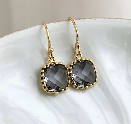 Charcoal Grey Earrings 14k Gold Filled Earwires Square Jewelry