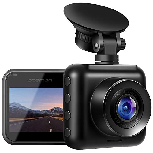 APEMAN Dash Cam 1080P Full HD Mini Car Driving Recorder 170° Wide Angle, Motion Detection, G-Sensor, Loop Recording, Night Vision (Recorder Quality)