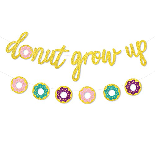 Glitter Donut Grow Up Banner Donut Party Garland Kids Birthday Decorations