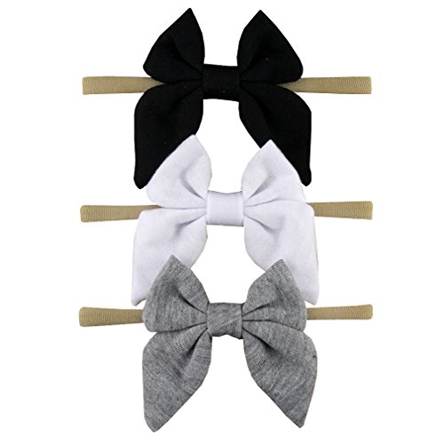 terfly Cotton Headband - 3 Pack Simple Nylon Headband Baby Gift Photography Hair Bow (Black, White, Gray) ()