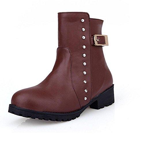 negro desgaste Women de cinturón altas botas marrón H 39 goma de bajas HFour Amarillo botas XIAOGANG y Seasons brown hebilla remache antideslizante HIvSt