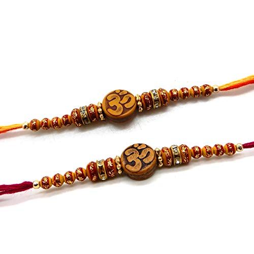 Khandekar Set of Two Rakhi, Om Design Rakhi thread, Raksha bandhan Gift for your Brother, Vary Color And Multi Design by Khandekar (with device of K)