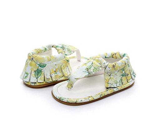 Prevently Baby Sandalen Baby Baby Mädchen Casual Fringe Sandalen Sommer Solide Einzel Krippe Hohle Schuhe Turnschuhe Gelb1