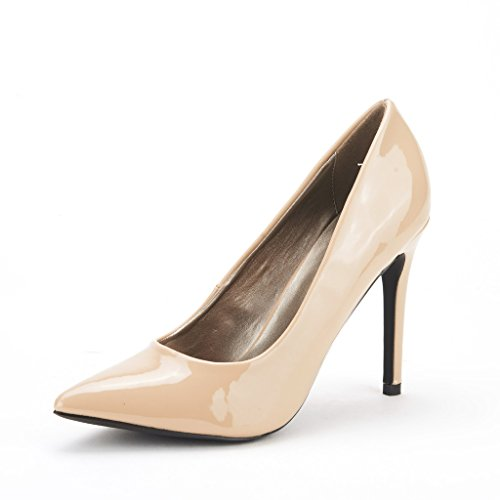 DREAM PAIRS CHRISTIAN Women's Classic Fashion Pointed Toe High Heel Dress Pumps New Nude-Patent Size 11