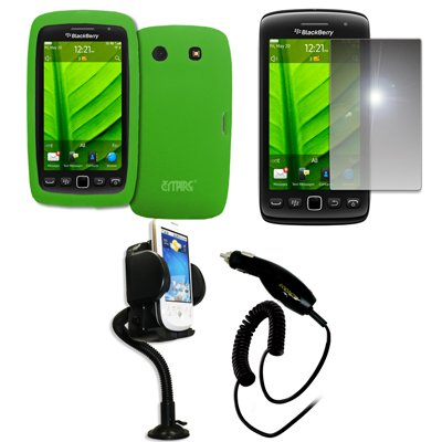 - EMPIRE Neon Green Silicone Skin Case Cover + 360 Degree Rotatable Car Windshield Mount with Air Vent Attachment + Mirror Screen Protector + Car Charger (CLA) for BlackBerry Torch 9850