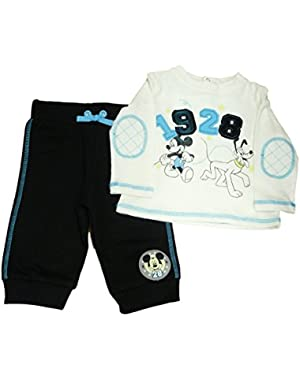 Mickey Mouse & Pluto Infant Boys White Shirt & Black Sweatpants Set