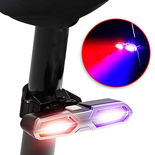 New!DEESEE(TM)USB Rechargeable Rear Bike Tail Light COB LED Bycicle Safety Rear Light 5 Modes