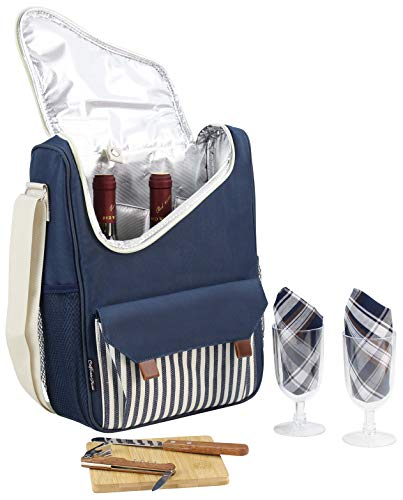 Wine Bottle Carrier 2 Bottle Capacity with Wine Glasses and Cheese Board Set | Highest Quality Wine Bag for Wine Lover Gifts and Picnic | Insulated Wine Tote Bag with Handle and Shoulder Strap (Picnic Bag Set)