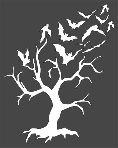 1-8x10 inch Custom Cut Stencil, Dead Tree Bats, (BA-8) (Dead Tree Stencil)