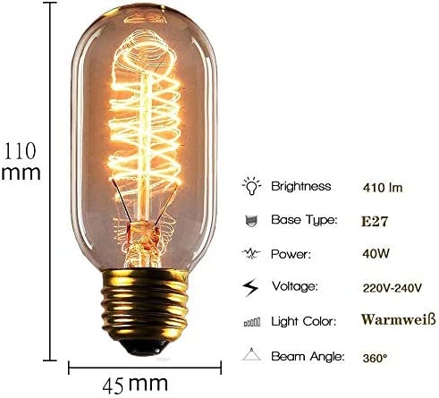 Funey 8er pack Edison Tungsten Filament Glühbirne E27 40W, T45, Glas, Retro Antike Klassisch Leuchtmittel, Dimmbar, für Restaurant Café Hängelampe Wandlampe
