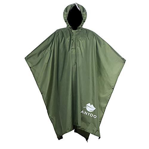 Anyoo Lightweight Waterproof Rain Poncho ReusaAnyoo Waterproof Rain Poncho Lightweight Reusable Hiking Rain Coat Jacket with Hood for Boys Men Women ()