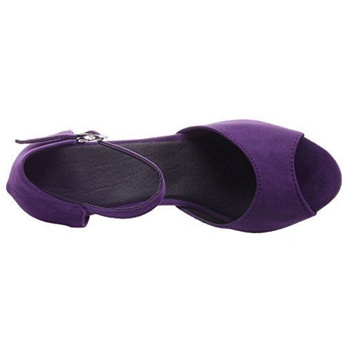 LongFengMa Women Sexy High Heel Sandals Peep Toe Ankle Strap Shoes Purple kuPNmoKO