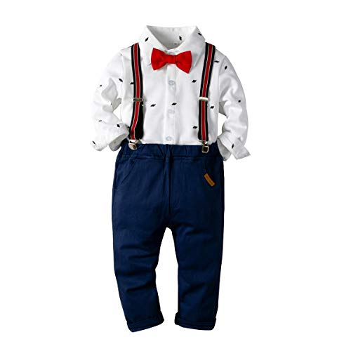 Baby Boys Fashion Gentleman Pants Clothing Set Long Sleeves Shirt+Suspender Colorful Pants+Bow Tie Toddler 4Pcs Set (White, 6-7T/130) Boys Holiday Plaid Vest
