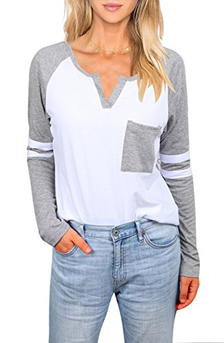 Baseball Womens V-neck (Uideazone Women Ladies Color Block T-shirts Long Sleeve V Neck Blouse Tops Gray)