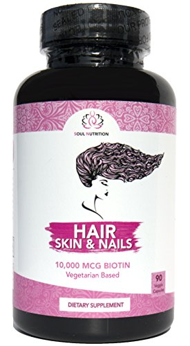 Hair, Skin & Nails - Vegan Vitamin - Natural Biotin 10,000 mcg - Supports Healthy Hair Growth, Glowing Skin and Strong Nails - Perfect Beauty - Gluten Free & Non-GMO - 60 Veggie Capsules