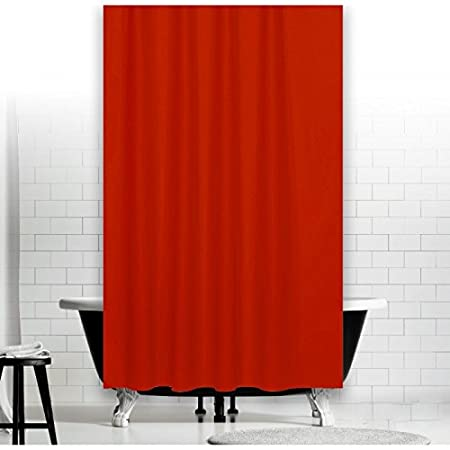 Red 240X230 Fabric Shower Curtain Width 240 Cm Height 230 Extra Long Special Size