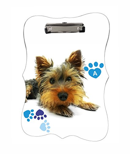 Yorkie and Pawprints - Rosie Parker Inc. TM - CUSTOM Benelux Shaped 2-Sided Hardboard Clipboard - Customize (Paw Shaped Clip)