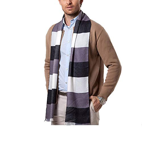 (XXSZKAA Mens Scarf Soft Long Brushed Silk Scarf Casual Thermal Neck Scarves)