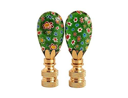 Green Millefiori Glass Lamp Finials, A Matching Pair