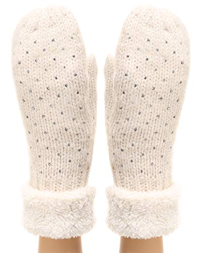 MIRMARU Women's Winter Warm Gloves Classic Thick Cable Knit Mittens with Soft Plush Lining (Rhinestone, Beige) -