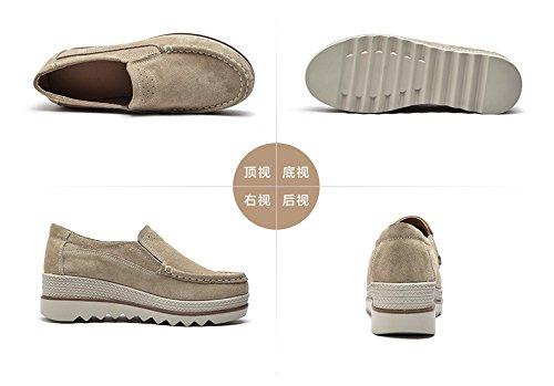 Plateforme Femmes Casuel Confort Chaussures Cuir Suède Loafers Compensées Derbies Mocassins Hishoes Kaki 6qwgg7