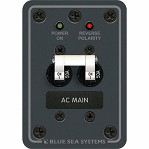 AC Main Only Circuit Breaker Panel 50A Max White Switches Marine RV Boating Accessories ()