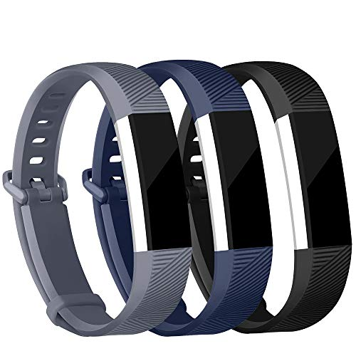Feel Free Pack - iGK For Fitbit Alta Bands and Fitbit Alta HR Bands, Newest Adjustable Sport Strap Replacement Bands for Fitbit Alta and Fitbit Alta HR Smartwatch Fitness Wristbands Black Navy Gray Small
