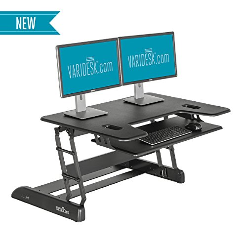 VARIDESK - Height-Adjustable Big-and-Tall Standing Desk - Exec 40 - Black (Tall Standing Desk compare prices)