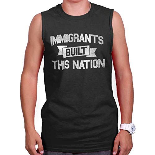 Brisco Brands Immigrants Built USA Demcrat Political Left Sleeveless Tee Black