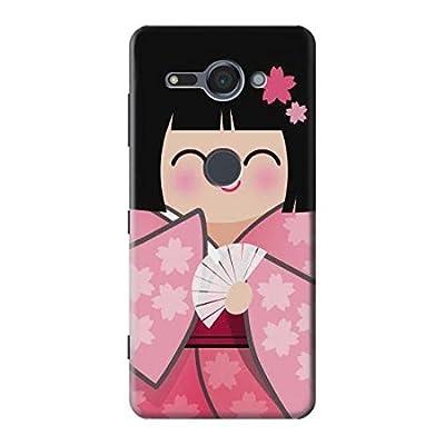 Japan Girl Hina Doll Kimono Sakura Etui Coque Housse pour Sony Xperia XZ2 Compact