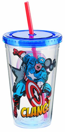Vandor 26214 Marvel Captain America 18 oz Acrylic Travel Cup with Lid and Straw, Multicolor