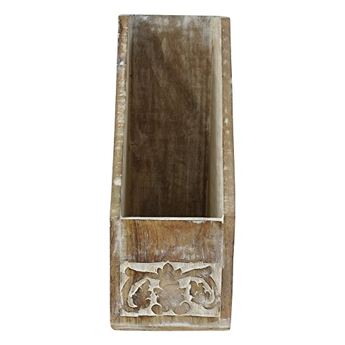 Indian Heritage Magazine Holder 10.5X12.5 Carved Wood Design in White Distress Finish - Art Deco Magazine